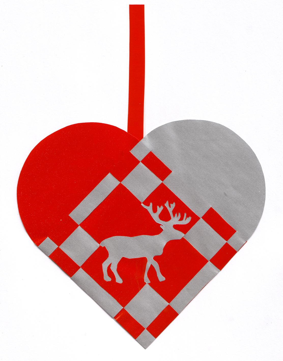 Flettet julehjerte med rensdyr