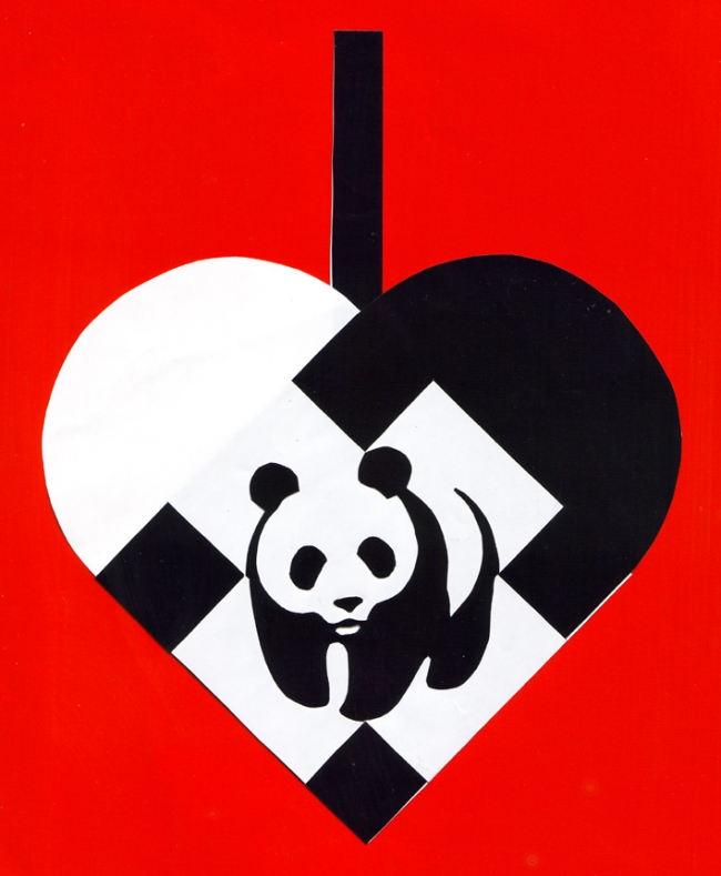 flettet julehjerte med panda